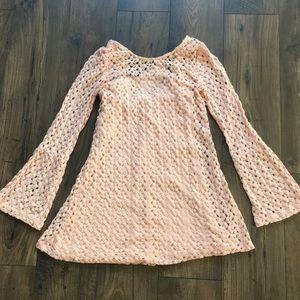 LIGHT PINK CROCHETED DRESS